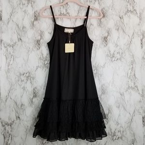 NWT A'reve Black Tiered Lace Drop Hem Tank Dress